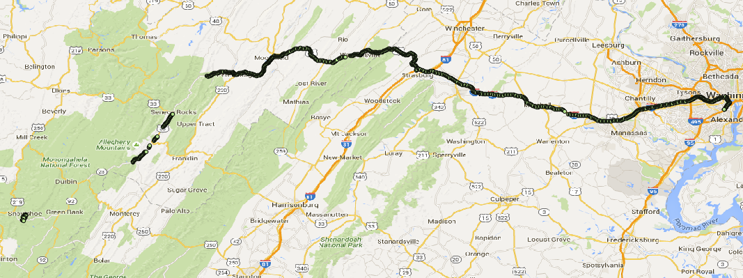 Route from DC to Snowshoe, WV where AT&T is available