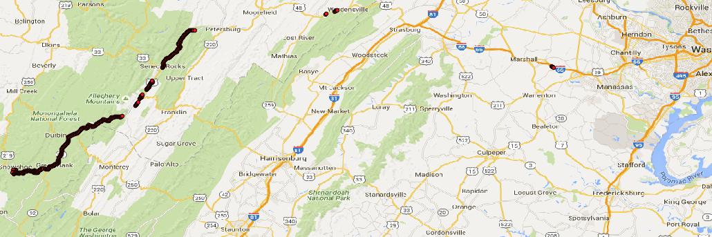 Route from DC to Snowshoe, WV without AT&T service