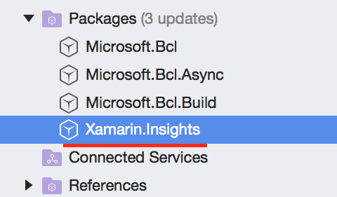 Xamarin Insights package in references before
